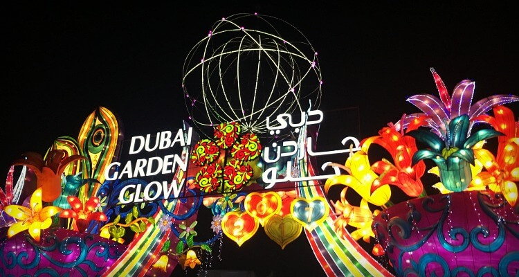 Dubai Garden Glow at Night