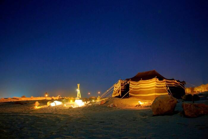 camping in dubai desert at night