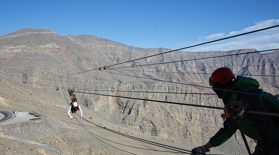 Longest zipline in the worl at jebel jais ras al khaimah